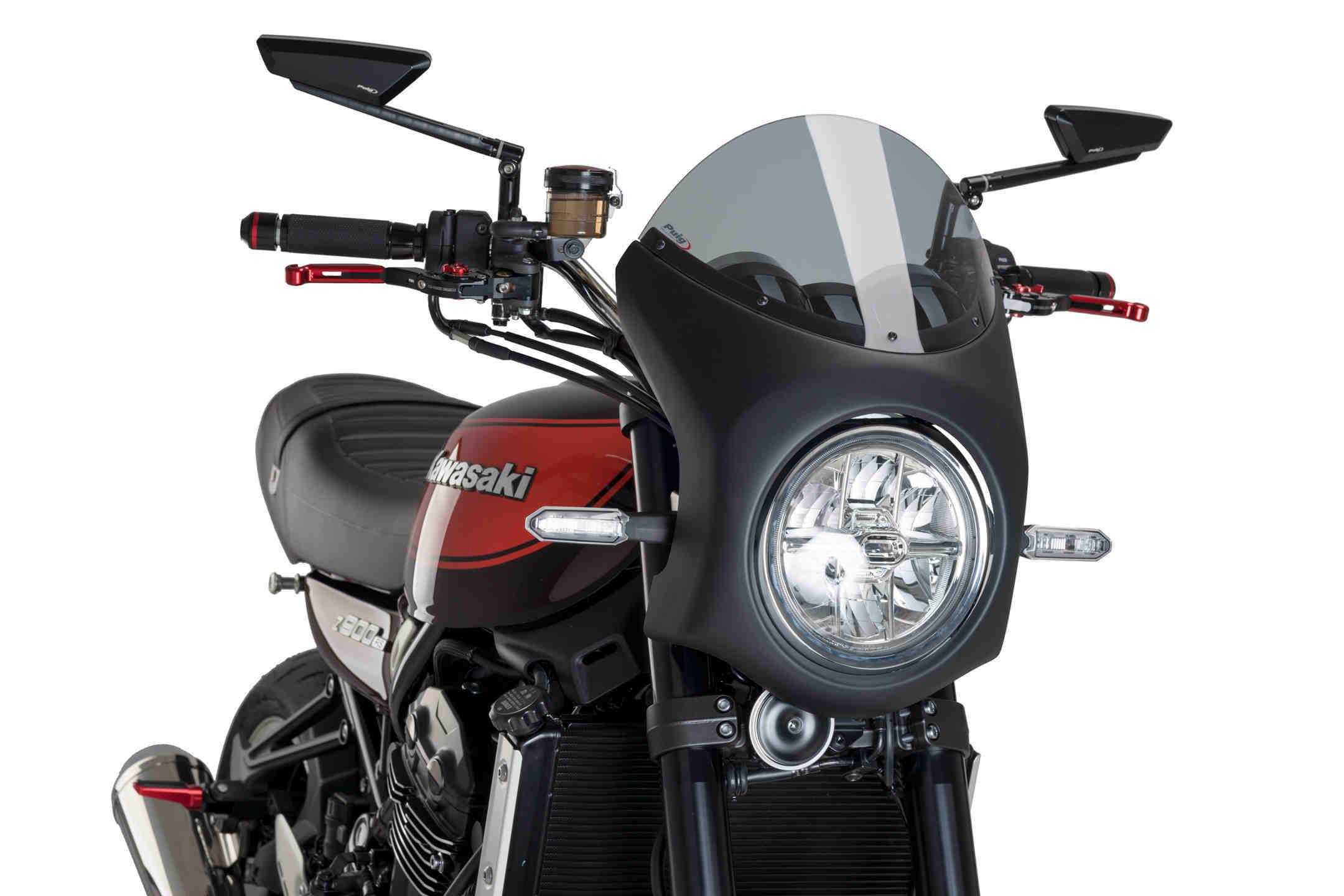 Puig Cupolini Retro Semicarenatura in Carbon Look 9596H per Kawasaki Z900RS 18-19